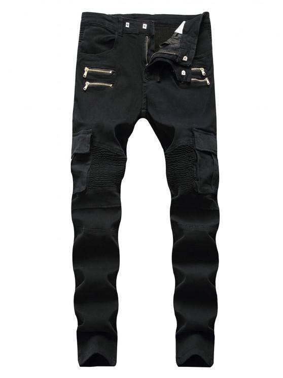 Pleated Patchwork Zipper Cargo Jeans - أسود 32