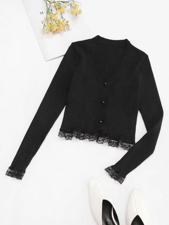 Button Up Scalloped Lace Trim Cardigan - أسود حجم واحد