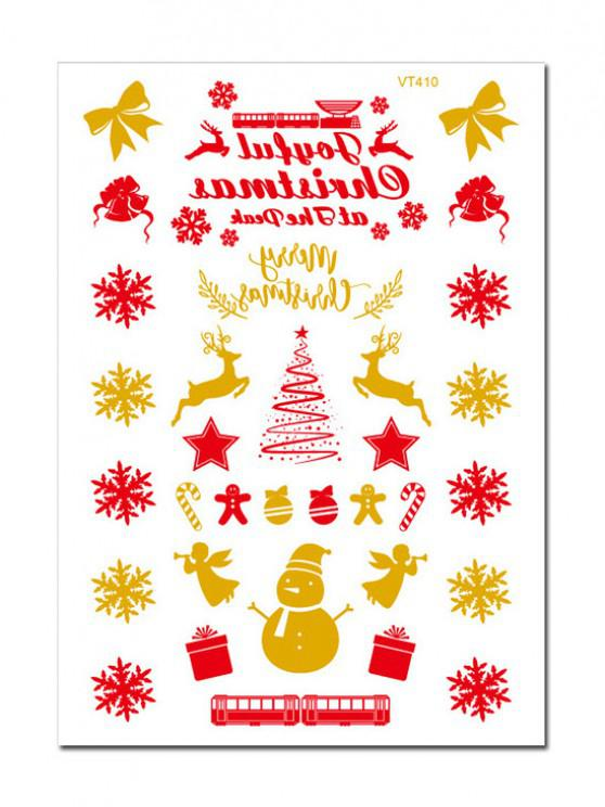 sale Christmas Snowflake Foil Print Tattoo Stickers - GOLDEN