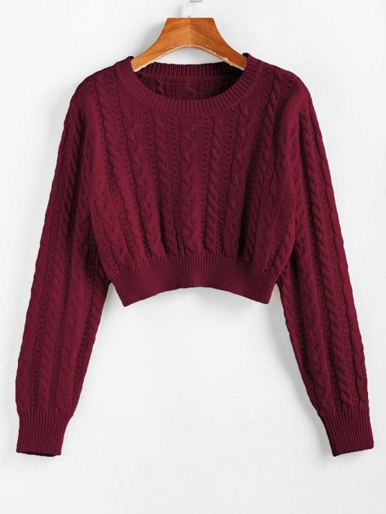 trendy ZAFUL Cable Knit Openwork Crop Sweater - RED WINE M
