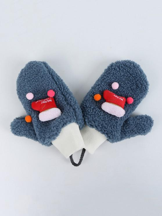 latest Christmas Stocking Pattern Sherpa Fleece Gloves - MARBLE BLUE