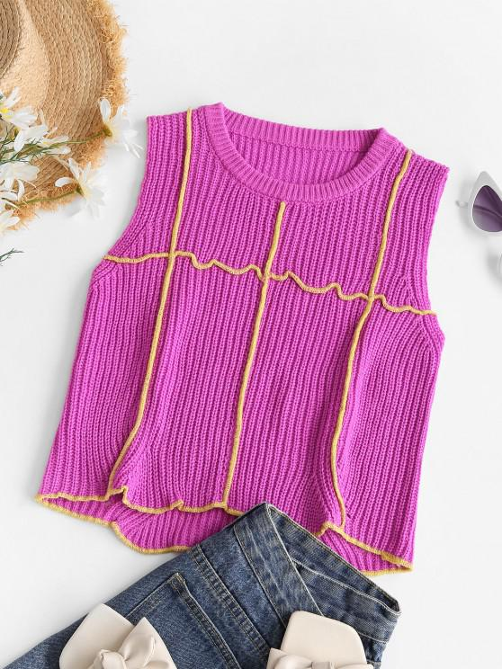 Contrast Seam Cropped Sweater Vest - أحمر عميق حجم واحد