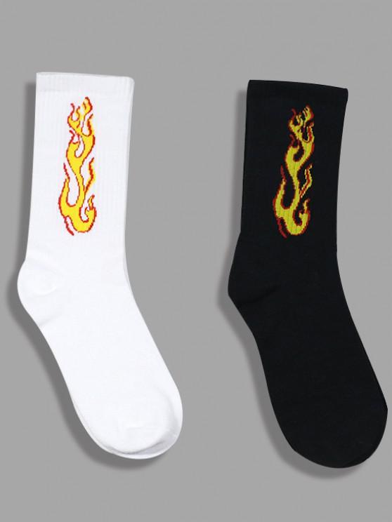 trendy 2 Pairs Flame Print Crew Socks Set - MULTI-A
