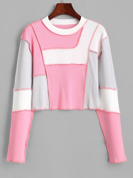 lady Ribbed Color Blocking Topstitch Cropped Tee - LIGHT PINK S