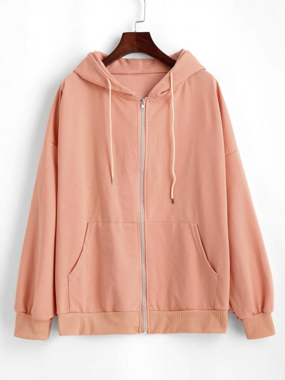 trendy Pockets Drawstring Zip Up Oversize Hoodie - LIGHT SALMON ONE SIZE