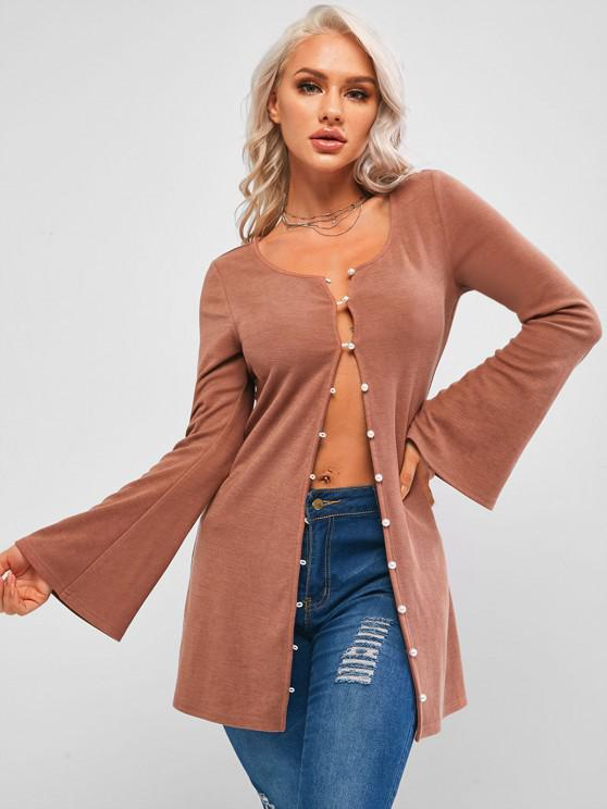 women's ZAFUL Faux Pearl Flare Sleeve Tunic Jersey Knit Tee - ROSY BROWN S