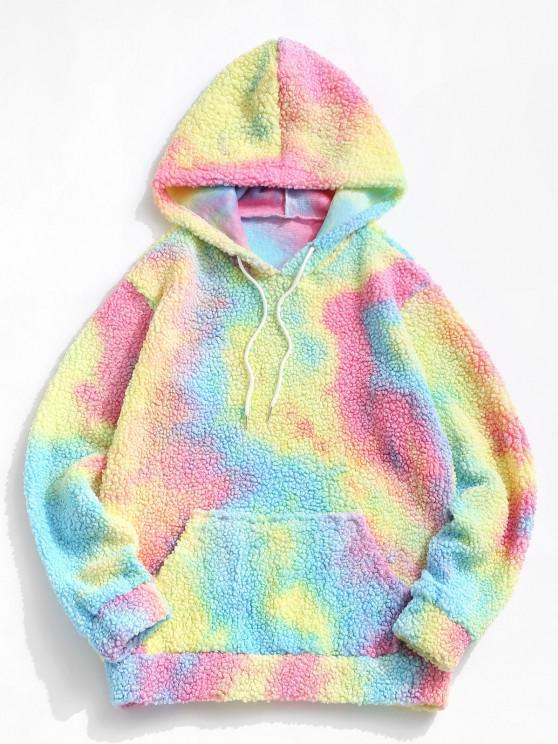 buy Tie Dye Front Pocket Teddy Hoodie - LIGHT BLUE XL