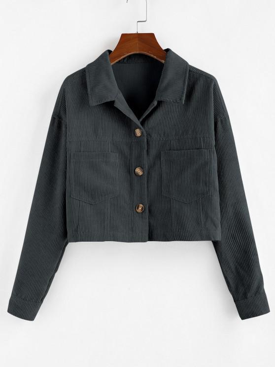 ladies ZAFUL Corduroy Front Pockets Crop Jacket - GRAY S