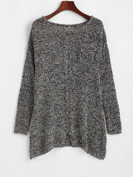 women Crew Neck Heathered Front Pocket Sweater - GRAY ONE SIZE