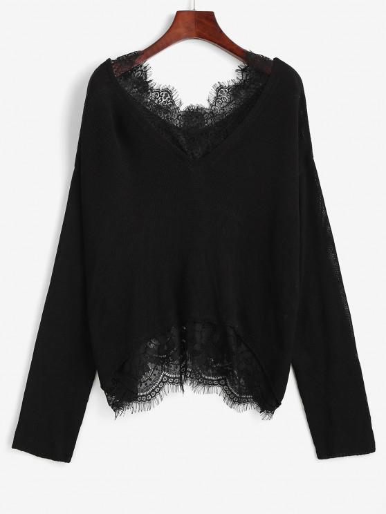 hot Lace Sheer Eyelash Drop Shoulder Sweater - BLACK M