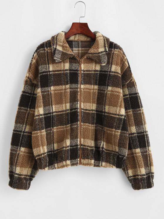 online ZAFUL Faux Fur Plaid Teddy Jacket - COFFEE S