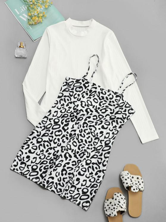Ribbed Tee and Leopard Cami Dress Set - أسود XL