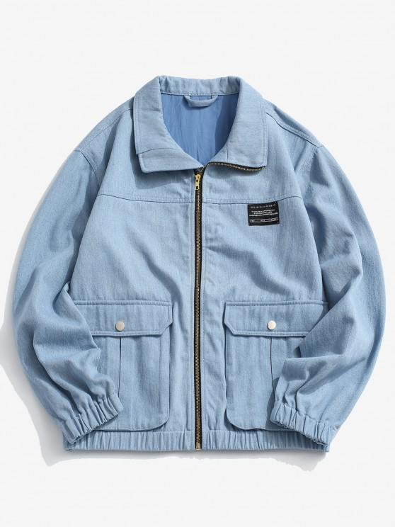 latest Flap Pocket Applique Patch Jean Jacket - LIGHT BLUE S
