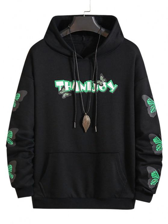 fancy Letter Butterfly Print Front Pocket Hoodie - BLACK S