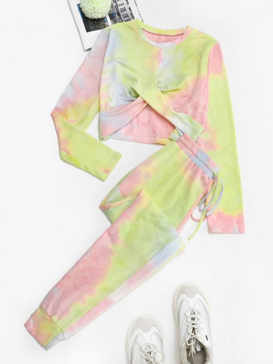 Twisted Front Tie Dye Two Piece Sweat Suit - وردي فاتح M