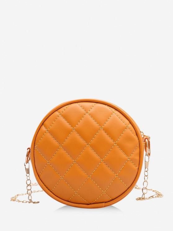 womens Argyle Sewing Design Canteen Bag - TANGERINE