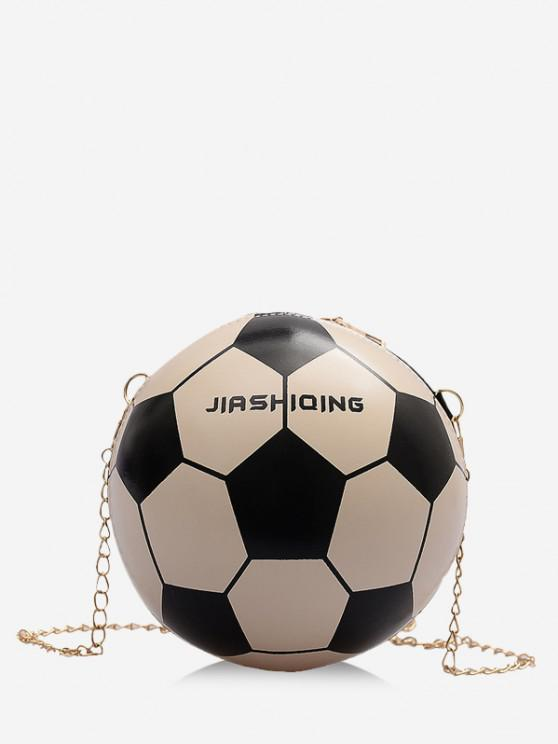 women Round Soccer Shape Chain Crossbody Bag - MILK WHITE