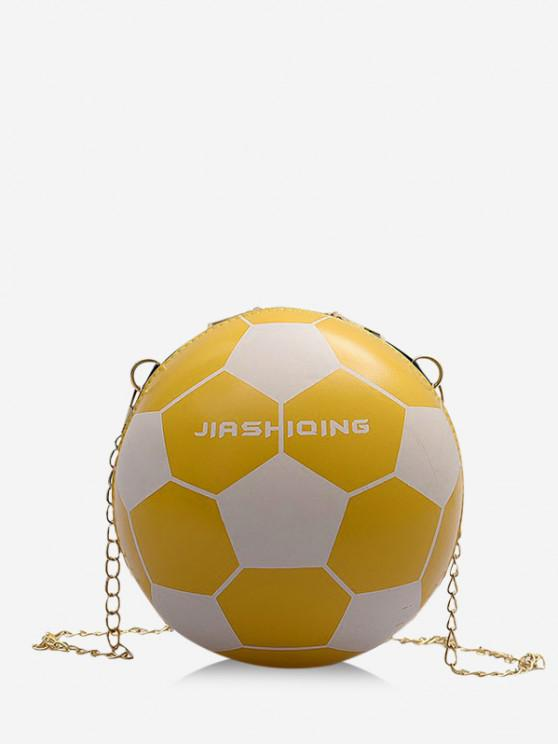 women's Round Soccer Shape Chain Crossbody Bag - BEE YELLOW