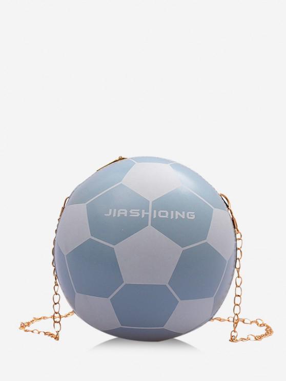 ladies Round Soccer Shape Chain Crossbody Bag - POWDER BLUE