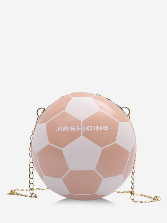 lady Round Soccer Shape Chain Crossbody Bag - PINK