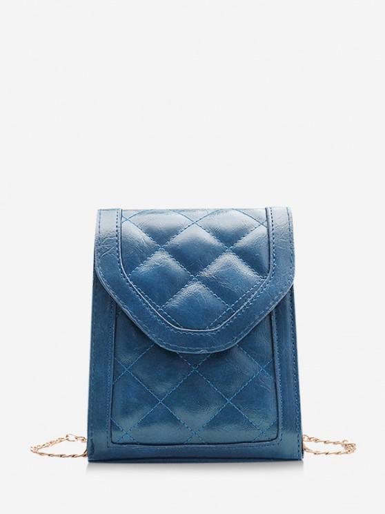 fashion Rectangle Quilted Chain Crossbody Bag - SILK BLUE