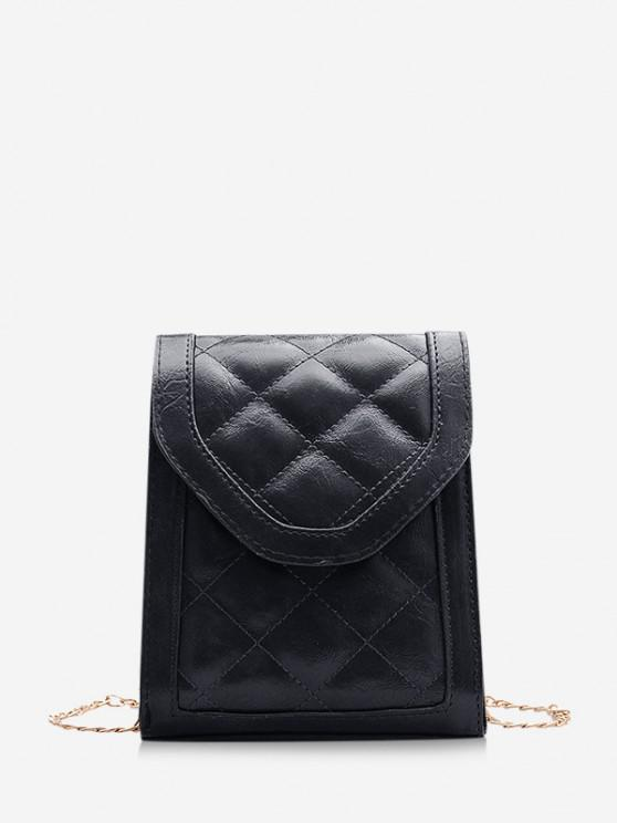 chic Rectangle Quilted Chain Crossbody Bag - BLACK