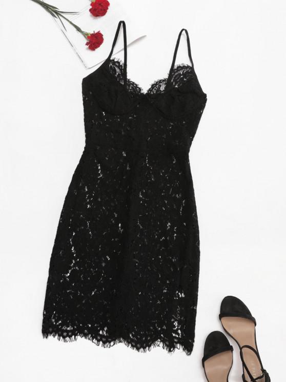 lady Eyelash Lace Bustier Slit Slinky Dress - BLACK M