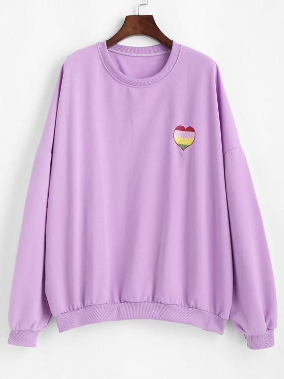 Oversize Colorful Heart Letter Embroidered Sweatshirt - الأرجواني النرجس البري L