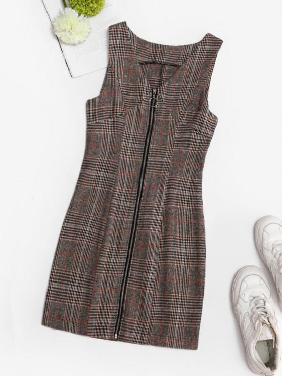 affordable Plaid Zip Up Mini Pinafore Dress - COFFEE S