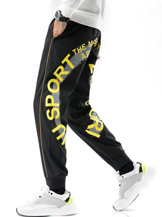 Pantalon Motif de Lettre Rayé à Pieds Etroits - Noir M