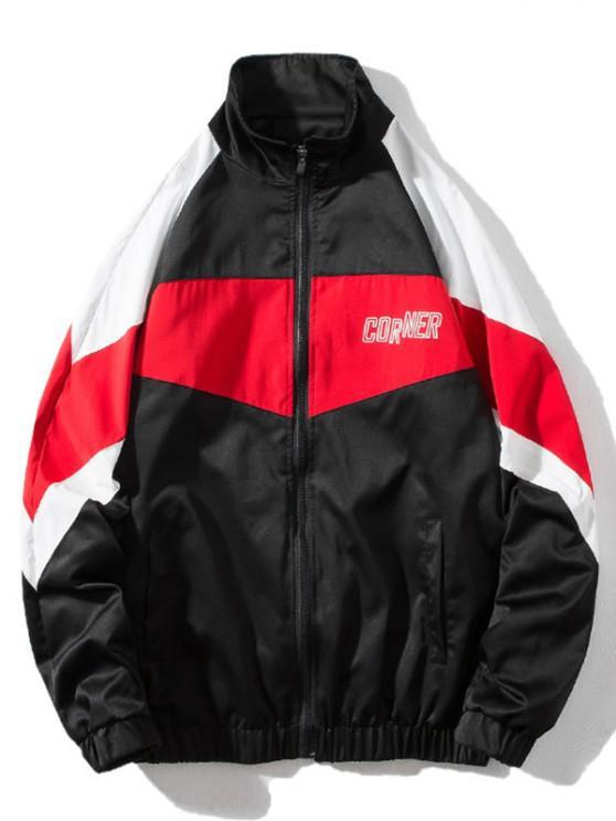 sale Around Corner Graphic Colorblock Windbreaker Jacket - BLACK XL
