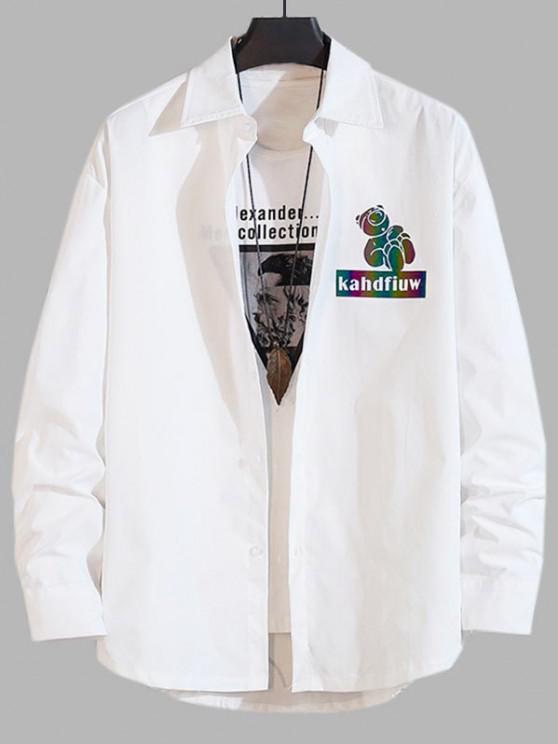 online Reflective Cartoon Pig Letter Print Long Sleeve Shirt - WHITE L