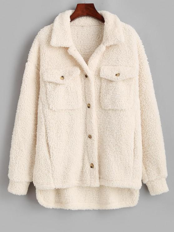 latest ZAFUL High Low Pockets Faux Fur Teddy Coat - LIGHT KHAKI M