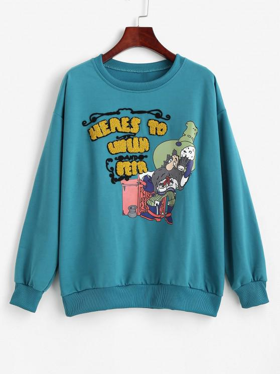 Textured Oversize Cartoon Graphic Sweatshirt - الطاووس الأزرق L