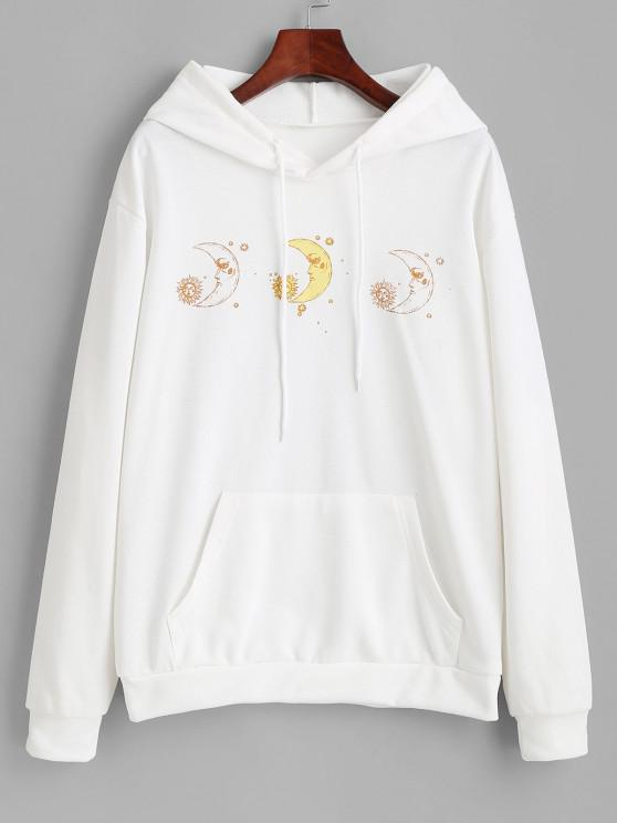 Moon and Sun French Terry Pocket Hoodie - أبيض S