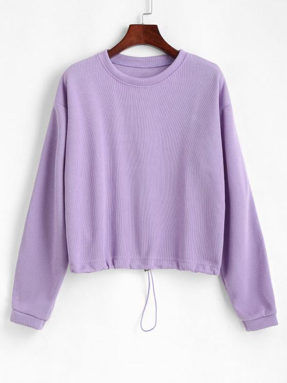 Solid Loose Toggle Drawstring Hem Sweatshirt - بيربل ميموزا L