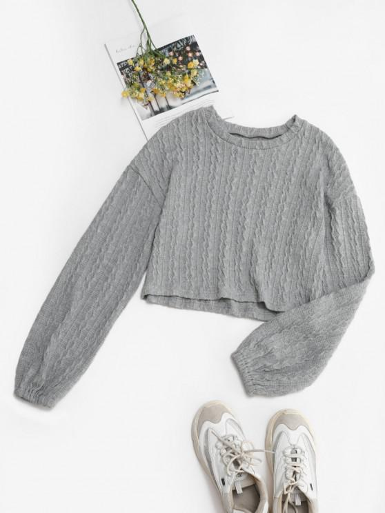 Solid Lantern Sleeve Cable Knit Sweater - رمادي فاتح M