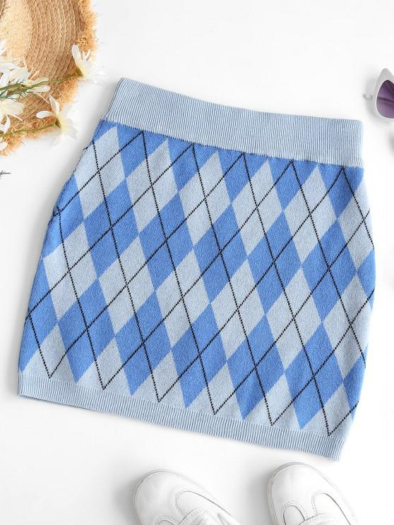 chic Argyle Knit Slinky Skirt - BLUE S