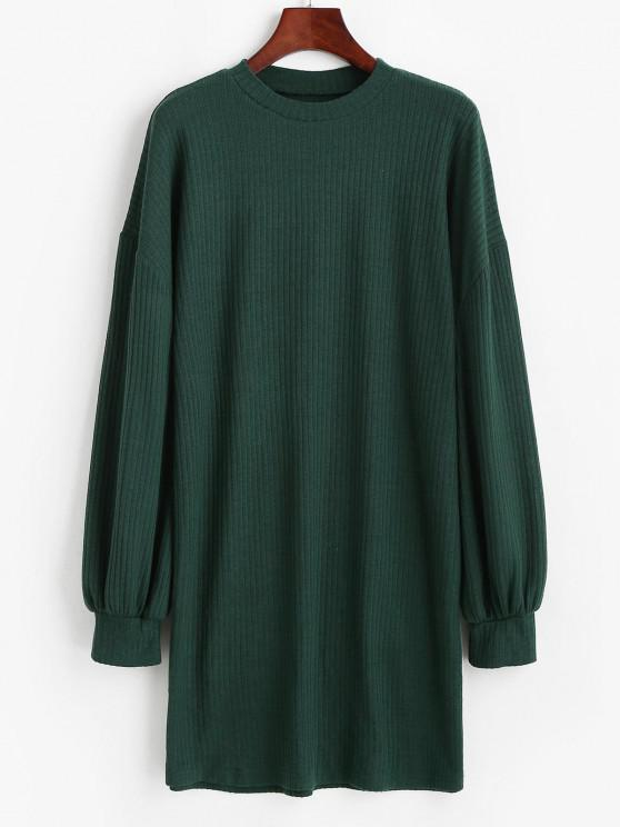 fashion Crewneck Rib-knit Shift Dress - GREEN S