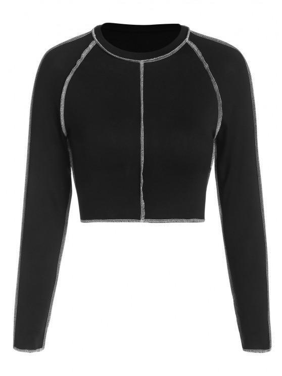 latest ZAFUL Topstitching Raglan Sleeve Crop T Shirt - BLACK L