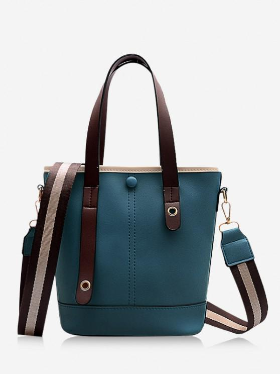 shops Striped Strap Crossbody Handbag - GREENISH BLUE
