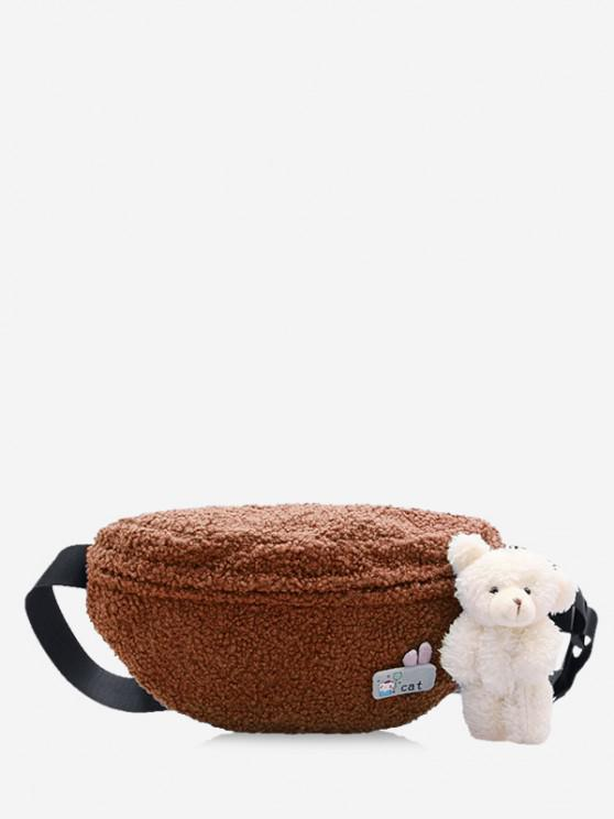chic Bear Pendant Fluffy Crossbody Bag - DEEP BROWN