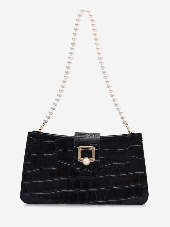 latest Faux Pearl Strap Shoulder Bag - BLACK