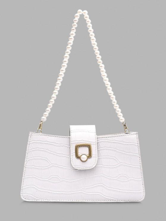 trendy Faux Pearl Strap Shoulder Bag - CRYSTAL CREAM