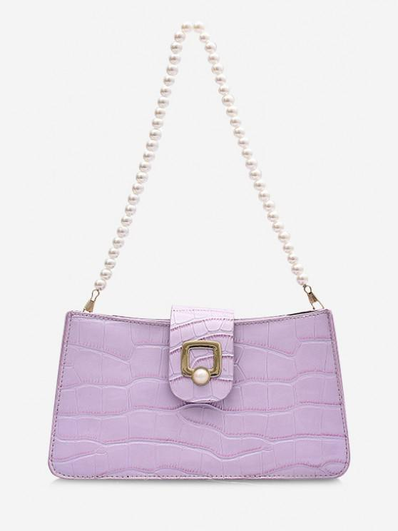 fashion Faux Pearl Strap Shoulder Bag - LIGHT PURPLE
