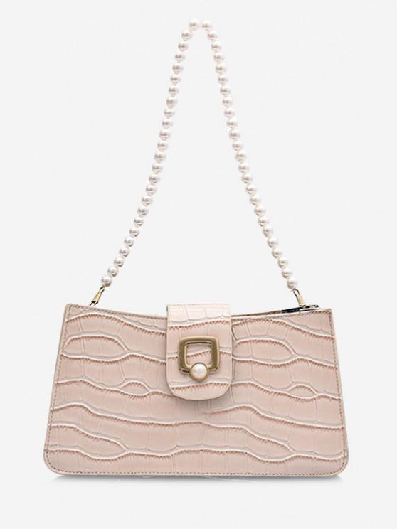 chic Faux Pearl Strap Shoulder Bag - BEIGE