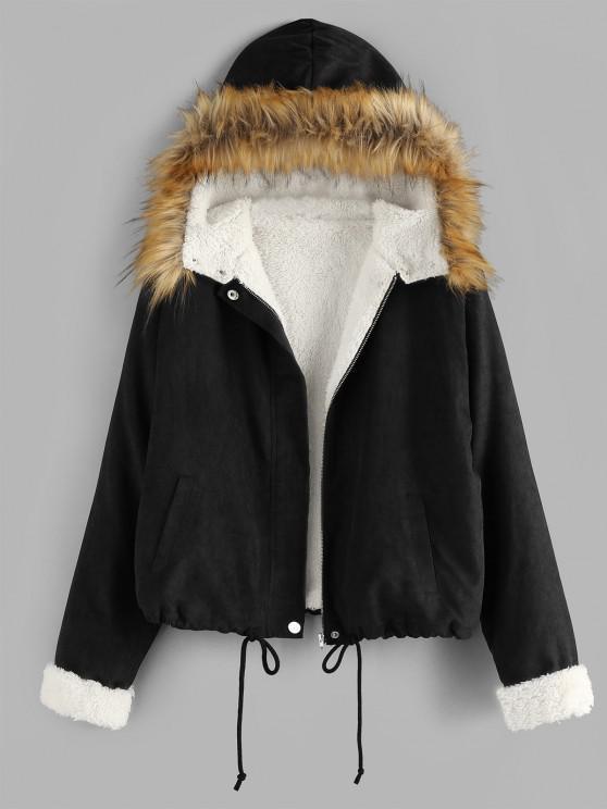 trendy ZAFUL Faux Shearling Lined Drawstring Hem Parka Coat - BLACK S