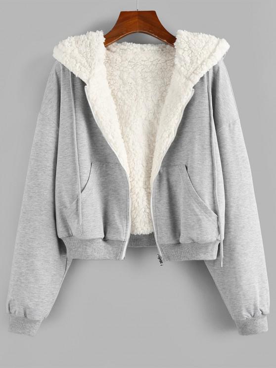 lady ZAFUL Reversible Hooded Drop Shoulder Zipper Teddy Coat - WHITE M
