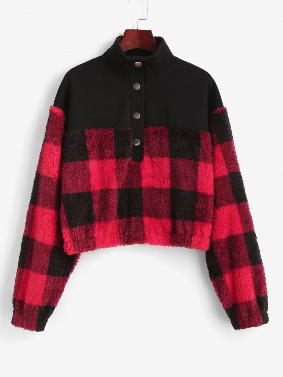 ZAFUL Plaid Patchwork Plush Sweatshirt - أسود XL
