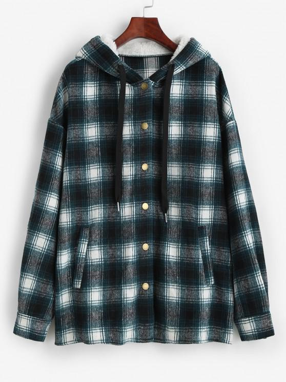 ZAFUL Faux Fur Hood Drawstring Plaid Shacket - أزرق S